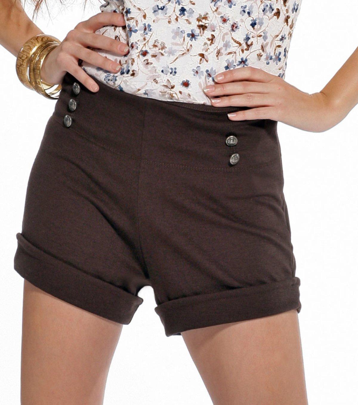 Pantalón short mujer de punto con botones - Marrón