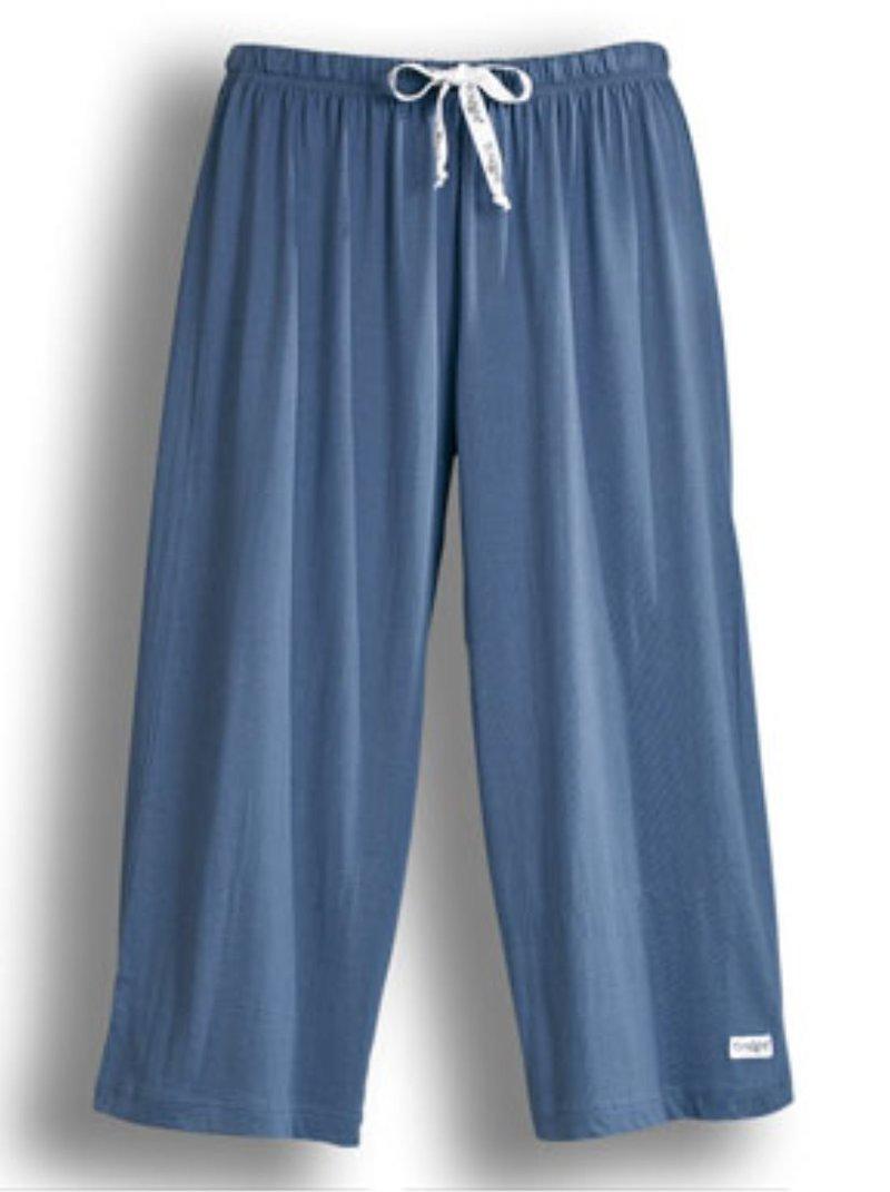 Pantalón pirata de pijama mujer de algodón - Azul Indigo