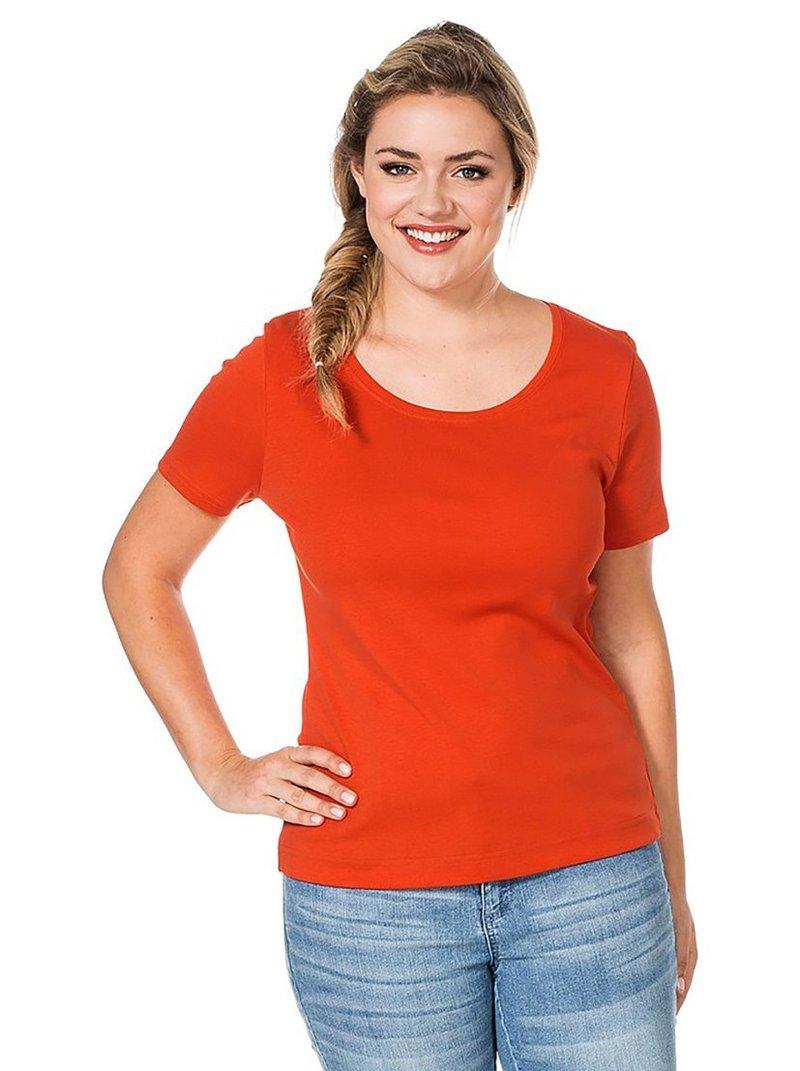 Camiseta básica manga corta mujer - Naranja