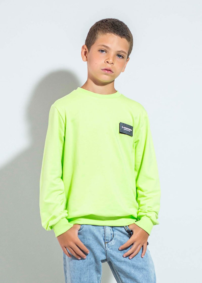 COTTON SWEATSHIRT WITH FLUO PRINTING AND VELCRO LOGO APPLICATION