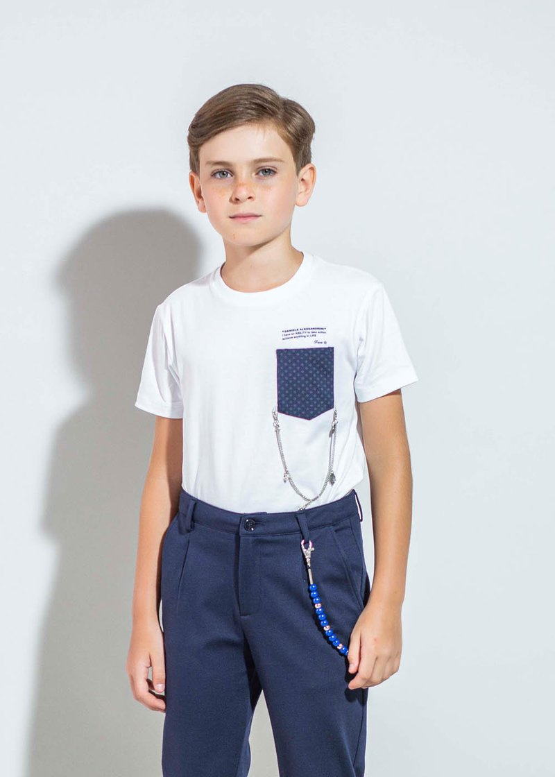 WHITE COTTON T-SHIRT WITH PRINTED LOGO AND BREAST POCKET