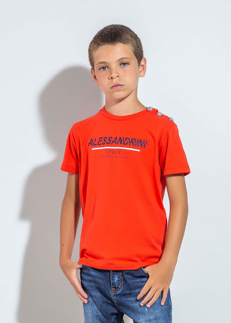 RED COTTON T-SHIRT WITH PRINTED LOGO