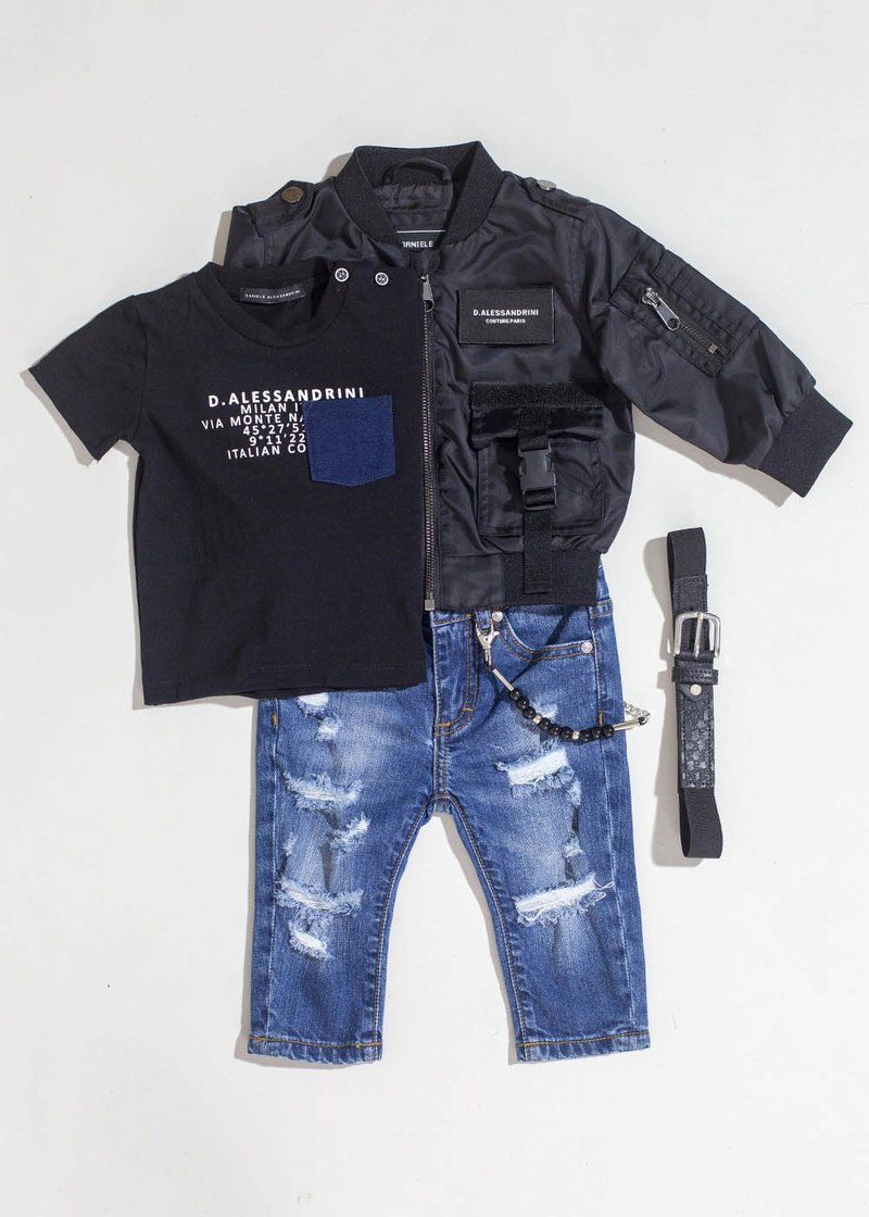 FIVE POCKETS JEANS WITH APPLIED CHAIN