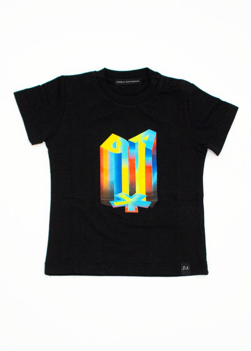 BLACK T-SHIRT WITH MULTICOLOR LOGO PRINT