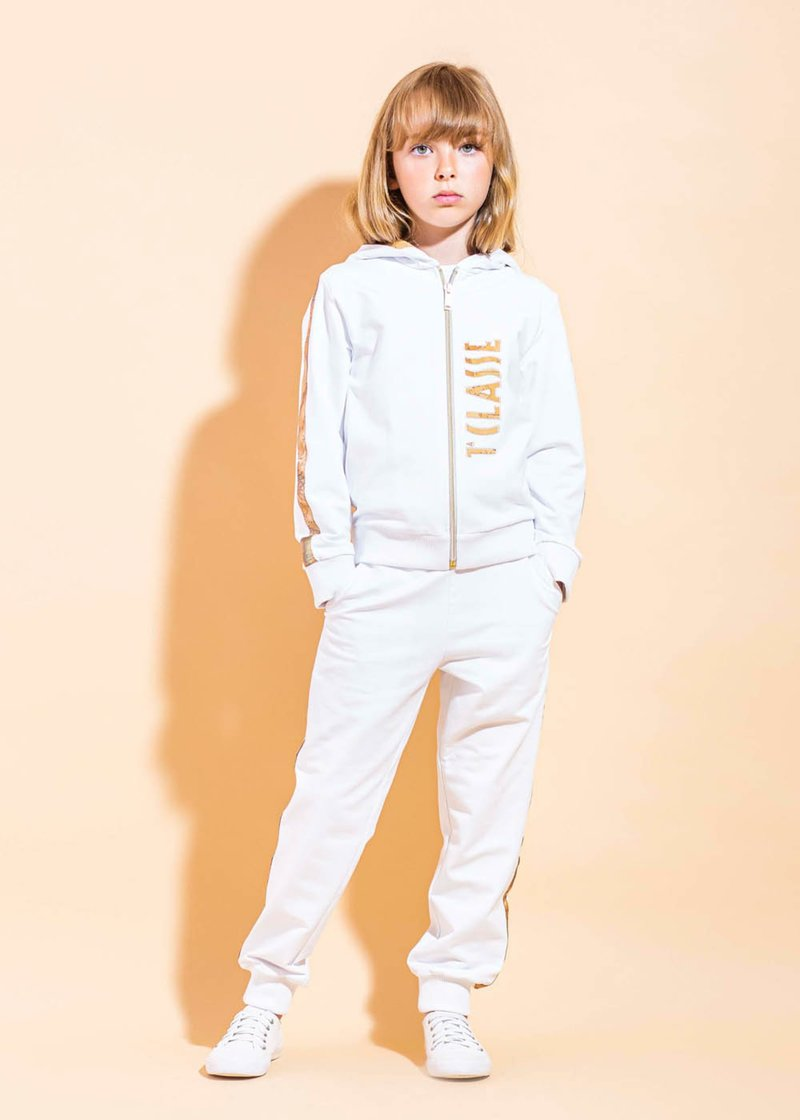 COTTON SWEAT SUIT WITH PRINTED GLITTER LOGO