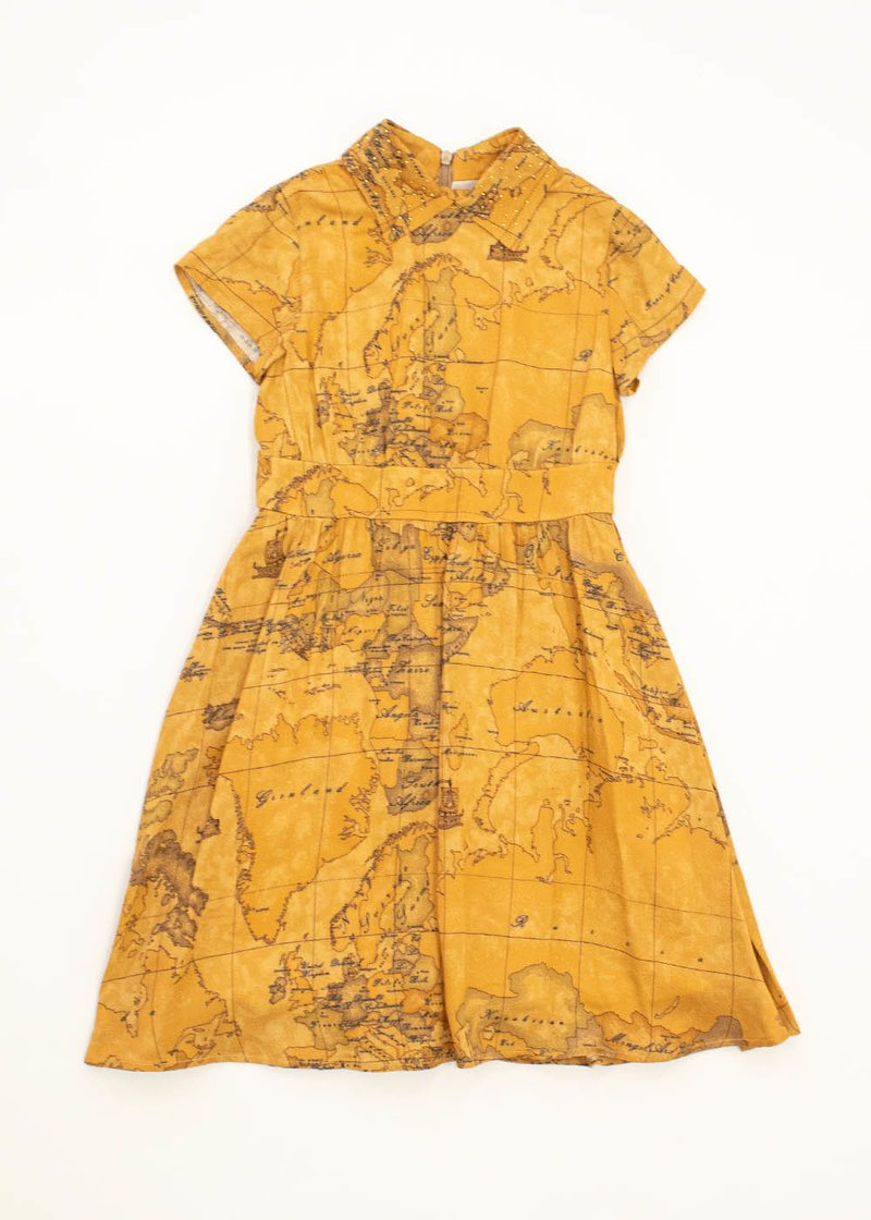 FORMAL DRESS WITH GEO INST PRINTING