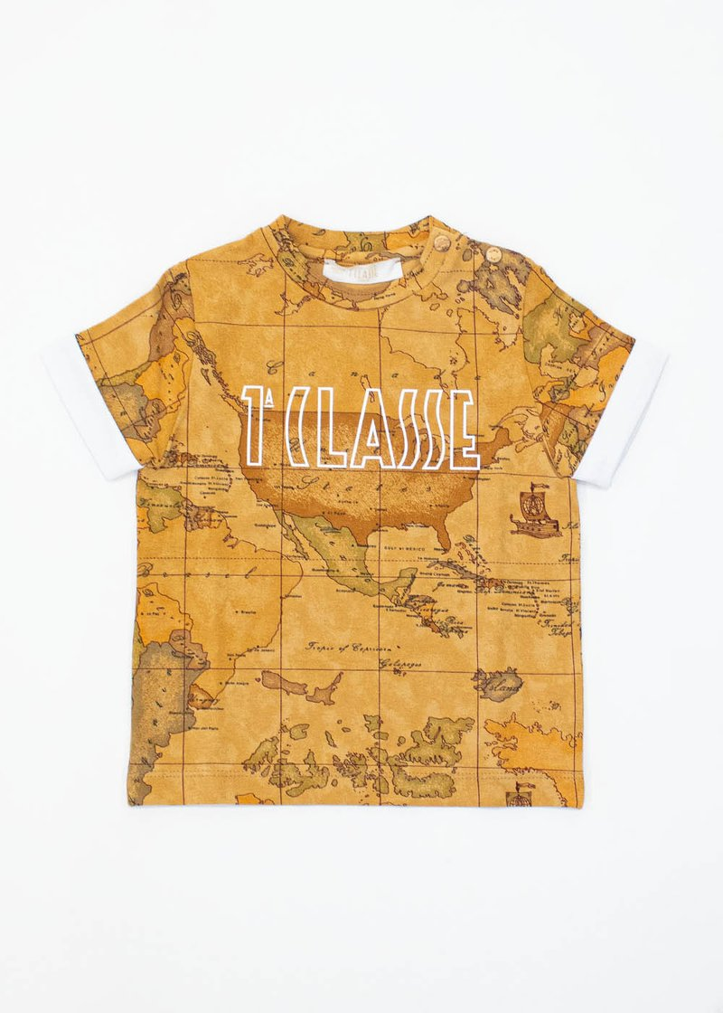 COTTON T-SHIRT WITH GEO CLASSIC PRINT AND LOGO