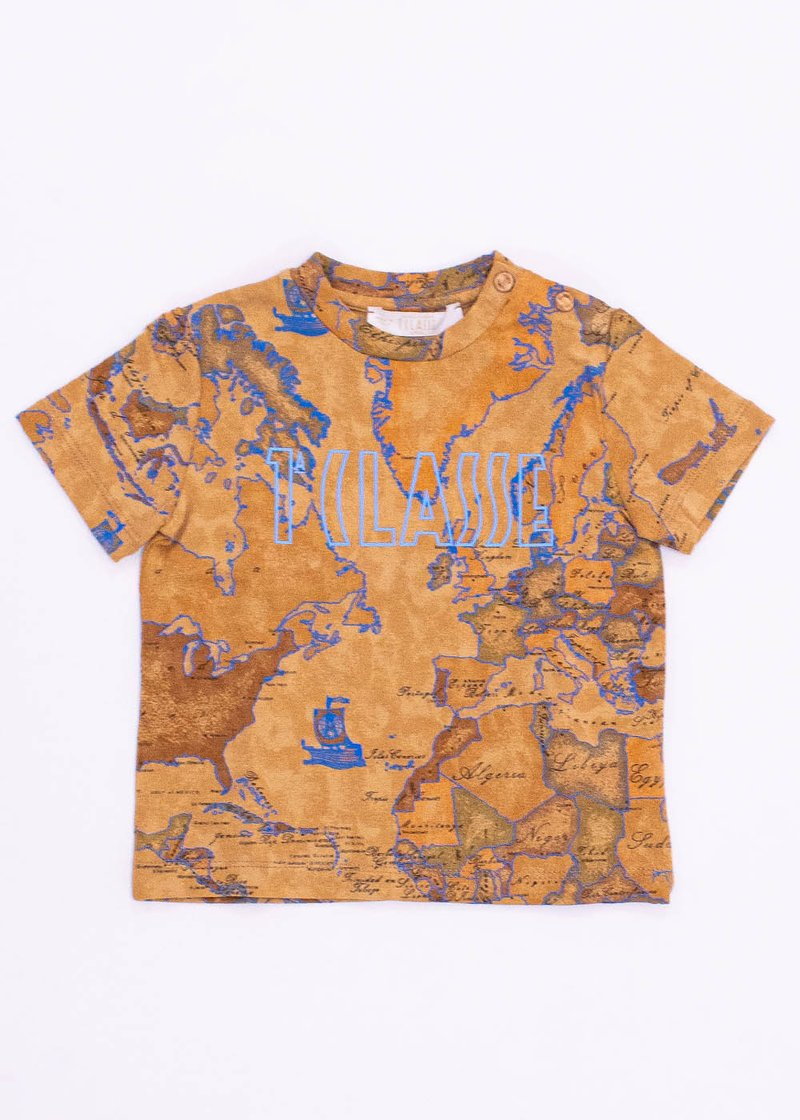 COTTON T-SHIRT WITH GEO CLASSIC PRINTING AND LOGO