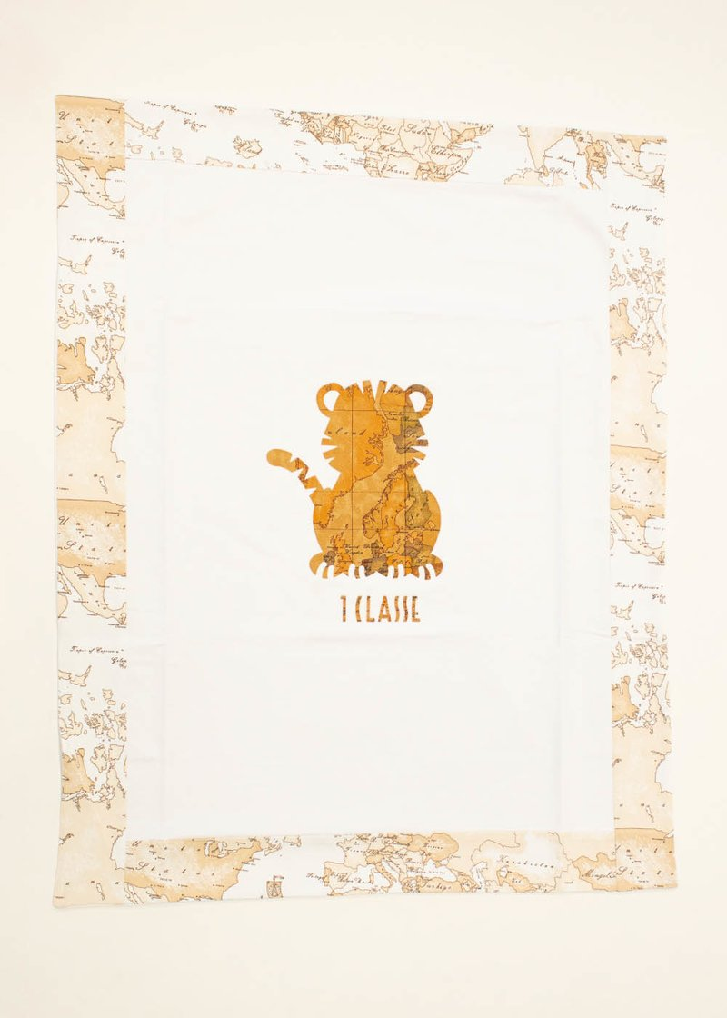 COTTON BLANKET WITH PRINTED LOGO AND BABY TIGER