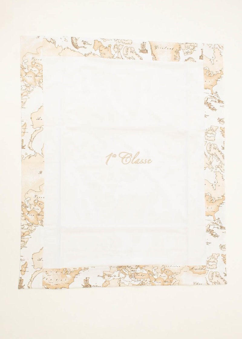 COTTON BLANKET WITH EMBROIDERED LOGO AND GEO CLASSIC PRINT