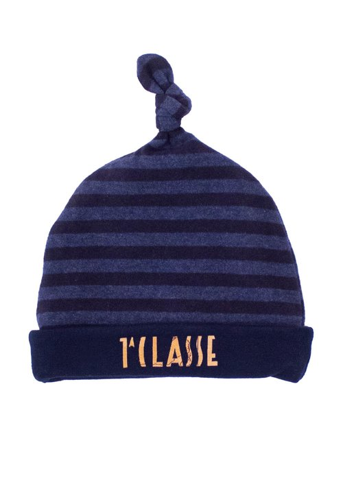 COTTON BONNET WITH STRIPED PATTERN AND PRINTED LOGO