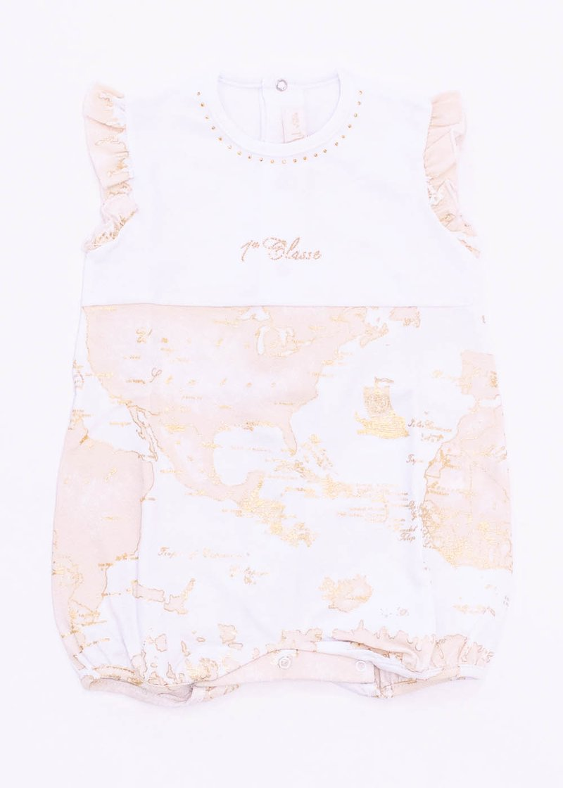 COTTON ROMPER WITH GEO CLASSIC GOLDEN PRINTING