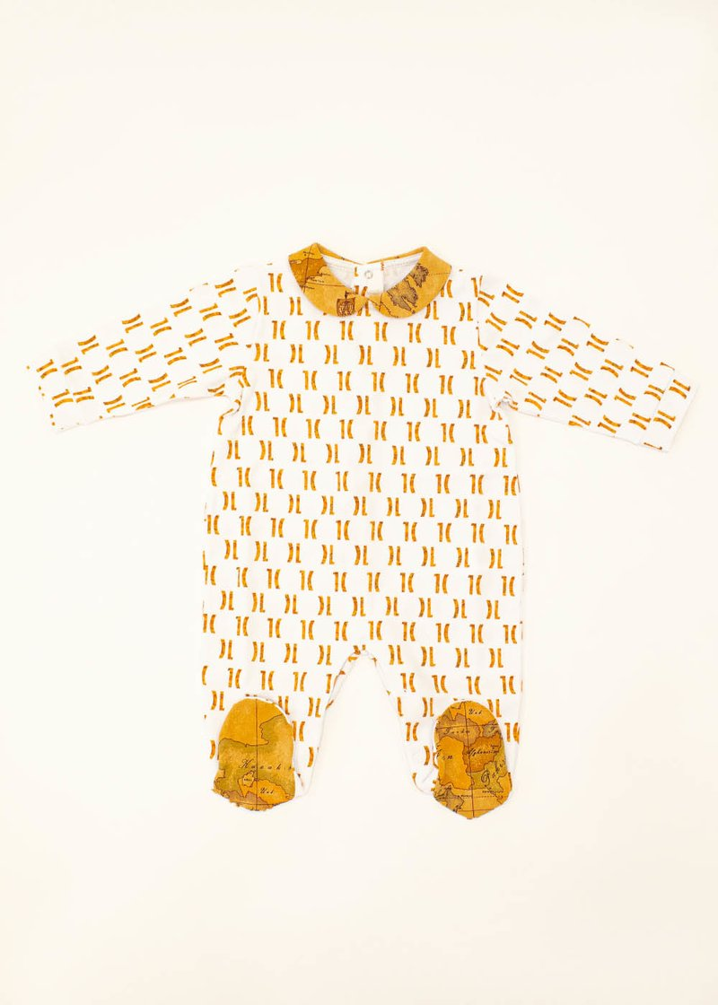 COTTON ROMPER SUIT WITH PRINTEND 1C LOGO AND GEO CLASSIC PRINT