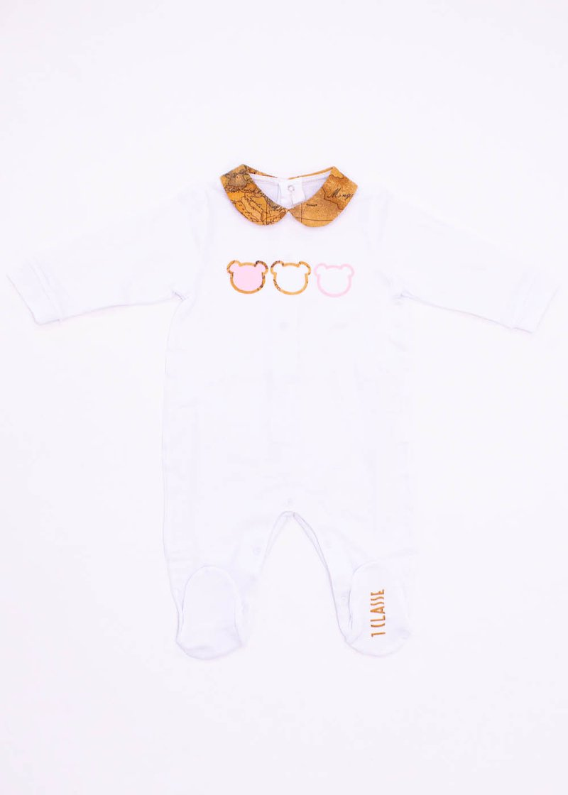 COTTON ROMPER WITH GEO CLASSIC PRINT AND TEDDY BEARS