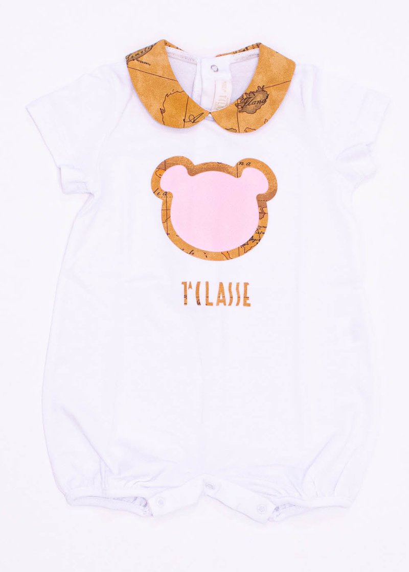 COTTON ROMPER WITH PRINTED TEDDY BEAR
