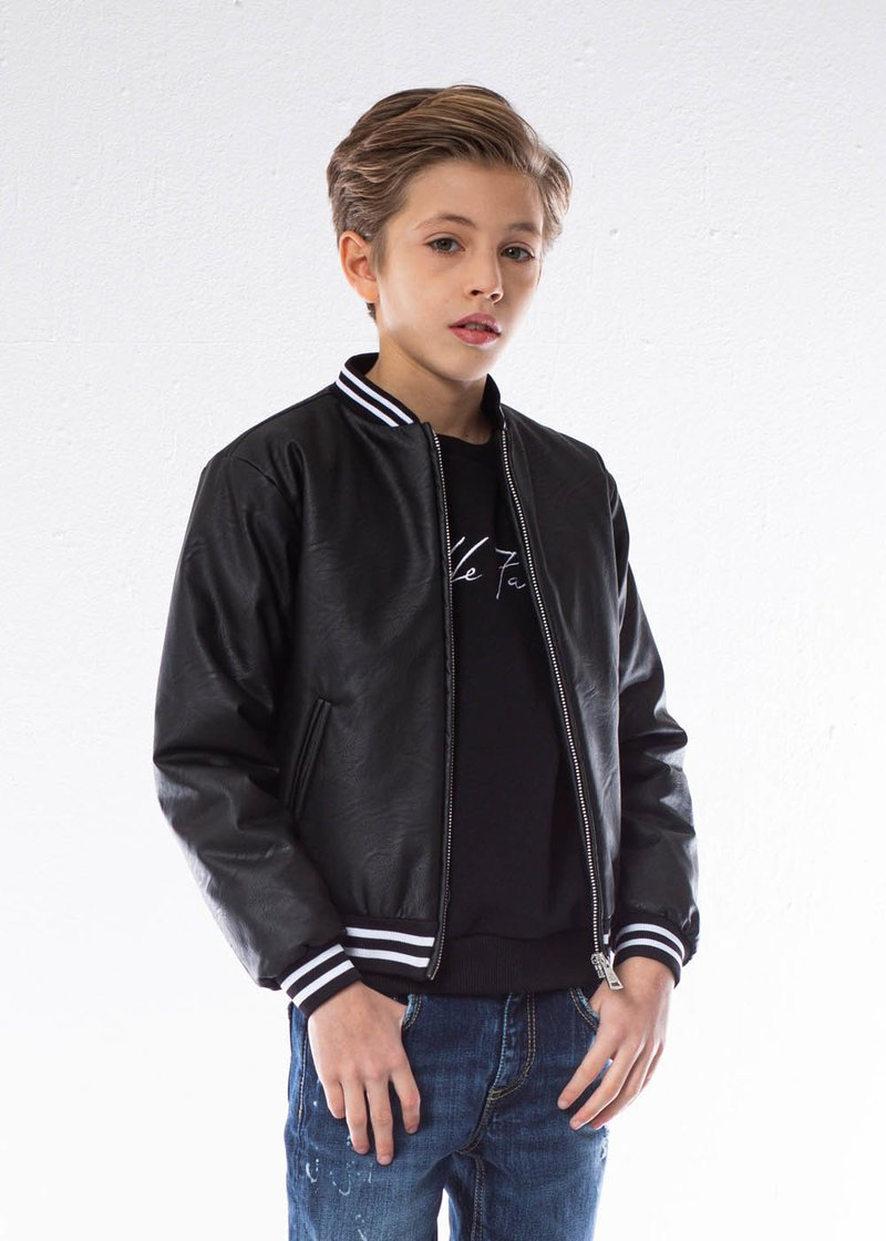 ECO-FRIENDLY LEATHER JACKET WITH EMBROIDERED LOGO