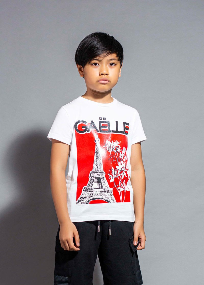COTTON RED T-SHIRT WITH PRINTED LOGO