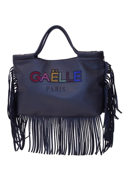 SHOPPING BAG WITH FRINGES AND MULTICOLORED RHINESTONES