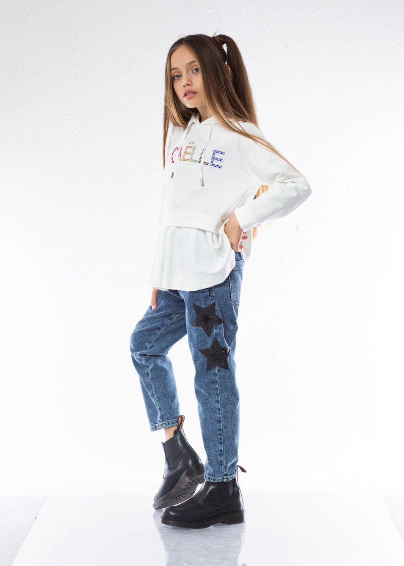 COTTON DENIM TROUSER WITH PRINTED STARS