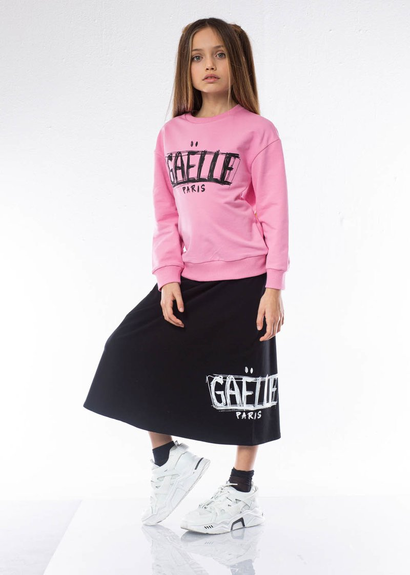 COTTON SKIRT WITH PRINTED LOGO