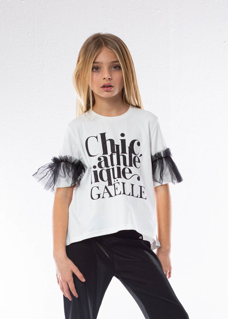 COTTON T-SHIRT WITH GLITTER PRINTING AND TULLE