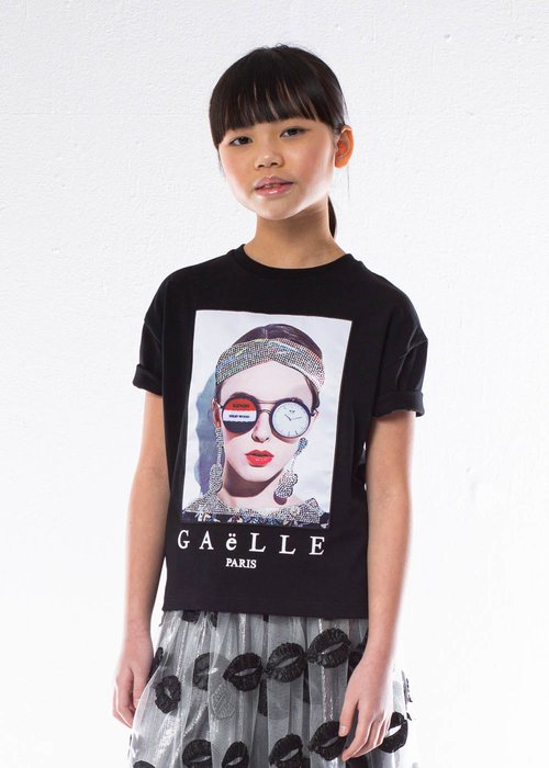 COTTON T-SHIRT WITH APPLIED RHINESTONE AND LOGO