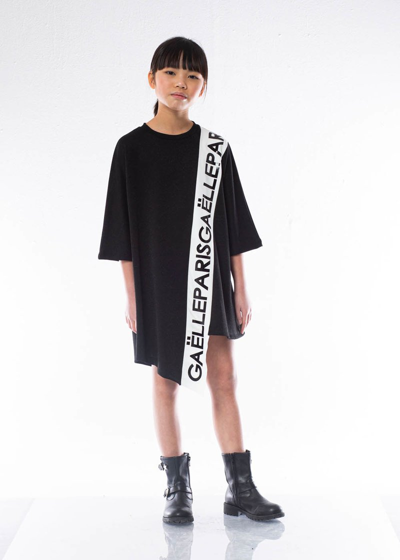 VISCOUS DRESS WITH PRINTED LOGO