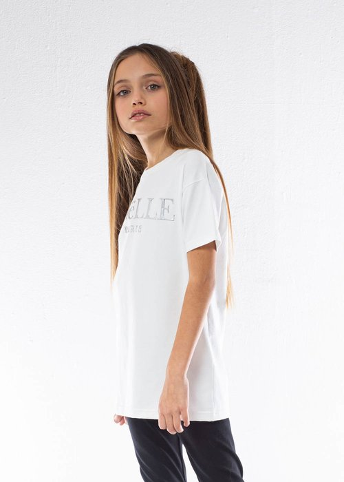 COTTON T-SHIRT WITH IRIDESCENT PRINTED LOGO
