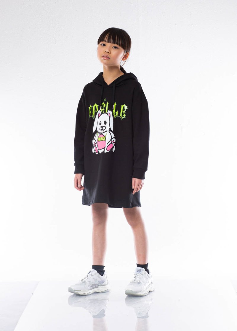 DRESS IN SWEATSHIRT COTTON WITH FLUORESCENT PRINTING