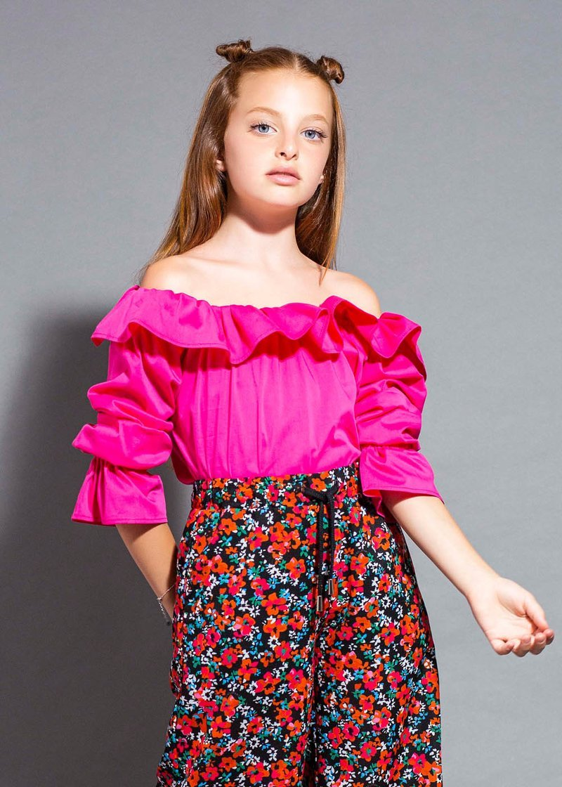 FUCHSIA SHIRT WITH BOAT NECK AND ROUCHES