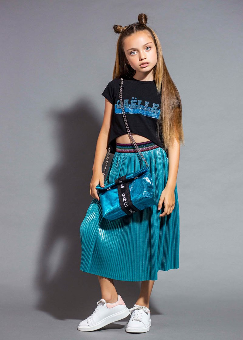 TURQUOISE PLEATED SKIRT WITH LAMINATED EFFECT