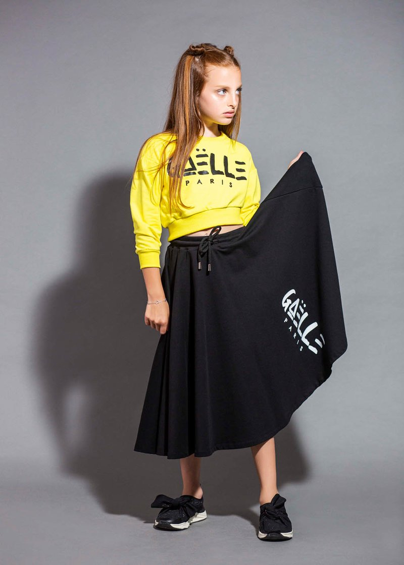 COTTON FULL SKIRT WITH PRINTED LOGO