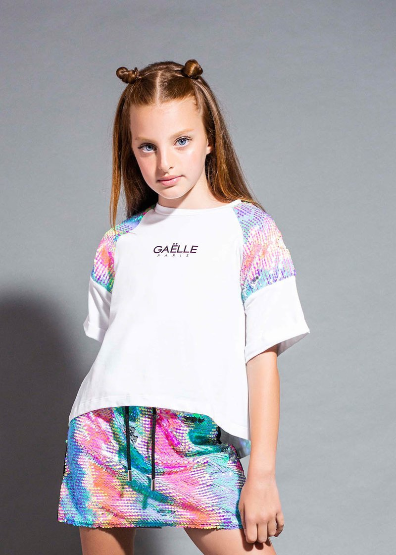 COTTON T-SHIRT WITH LOGO AND SEQUINS