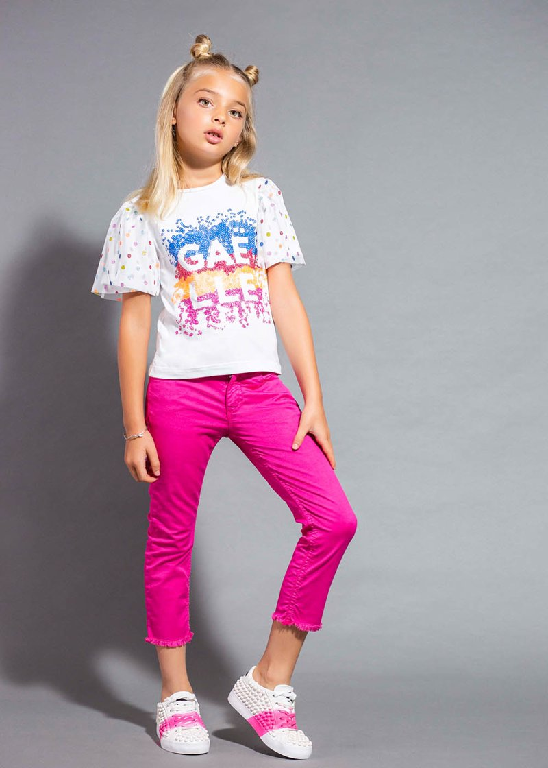 COTTON T-SHIRT WITH PUFF TULLE SLEEVES AND SEQUINS