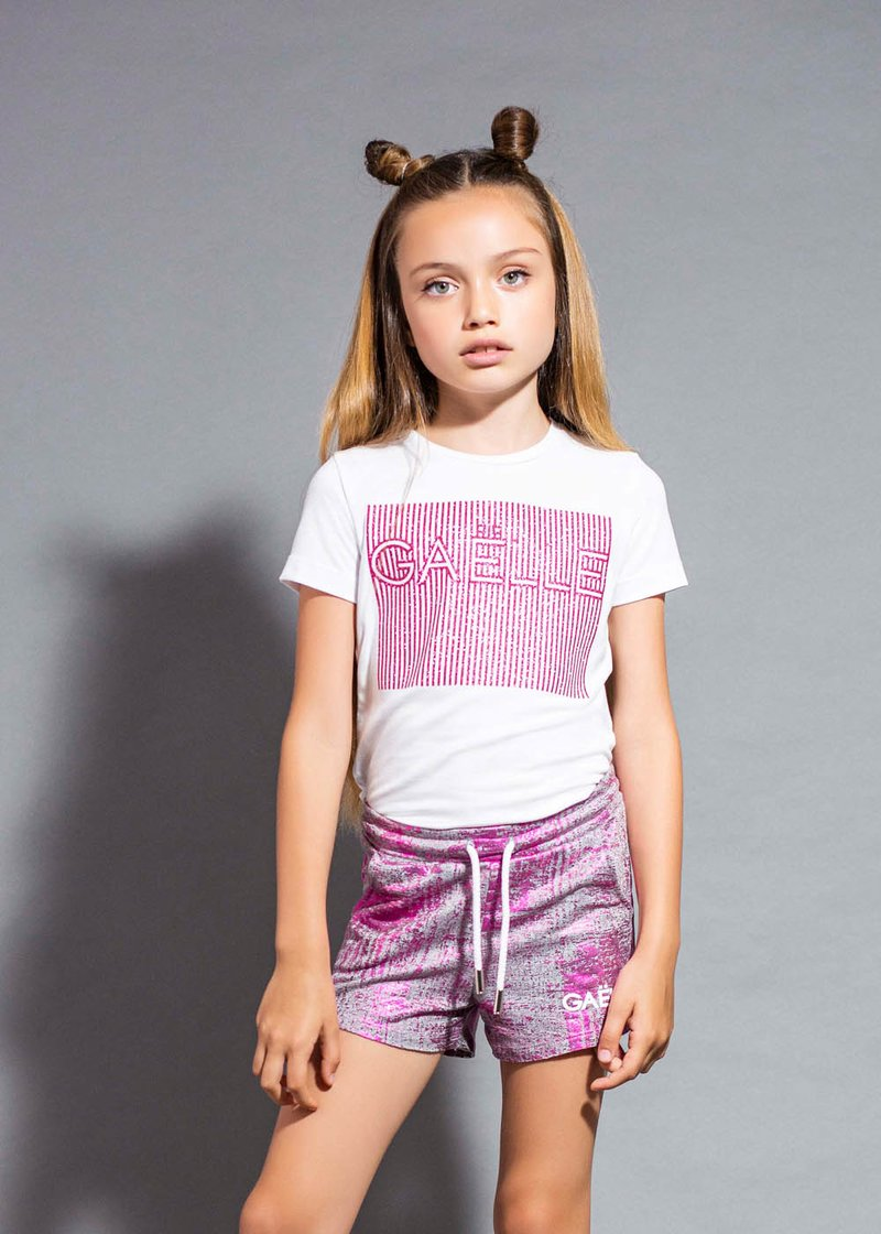 COTTON T-SHIRT WITH PRINTED GLITTER LOGO