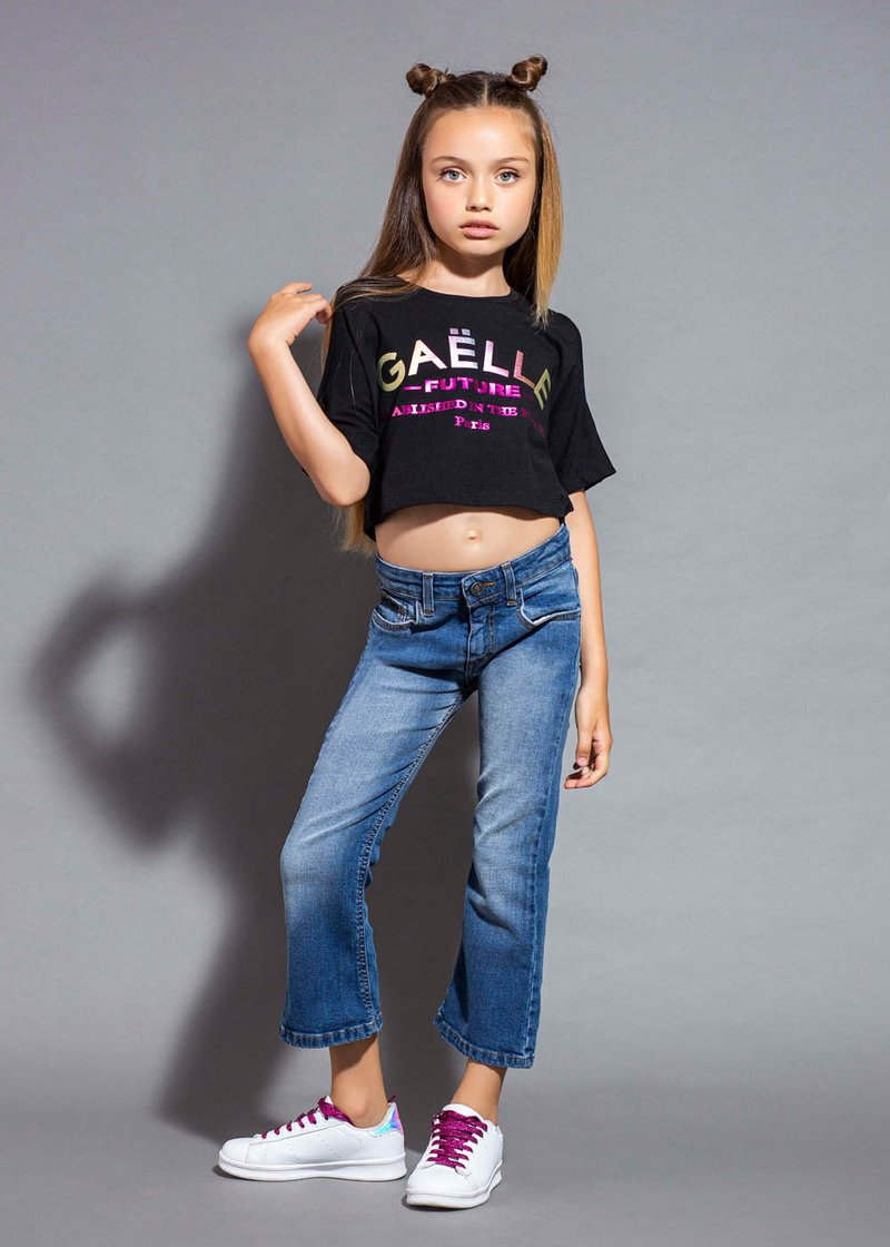 COTTON T-SHIRT WITH PRINTED LOGO AND SLITS