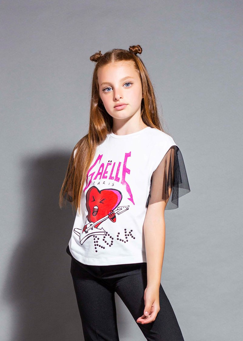 COTTON T-SHIRT WITH STUD AND TULLE