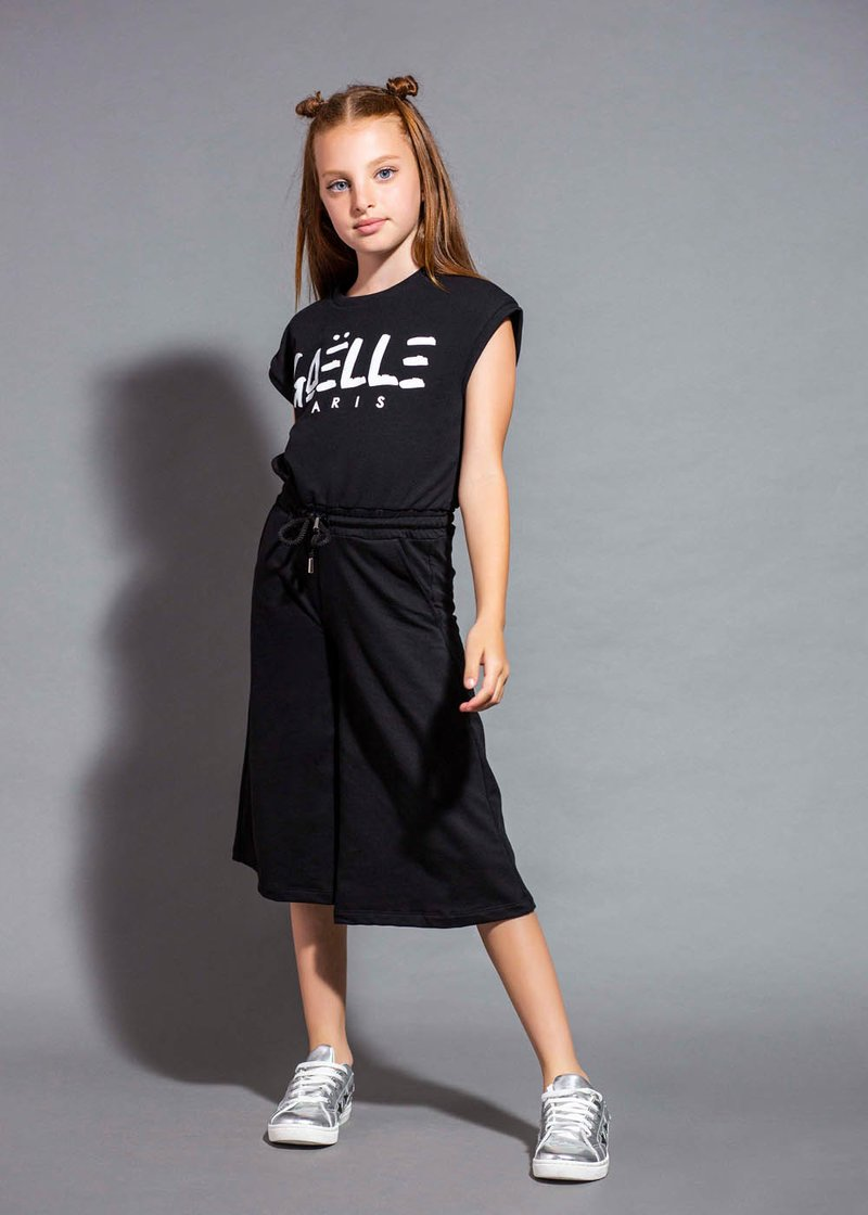 COTTON JUMPSUIT WITH PRINTED LOGO