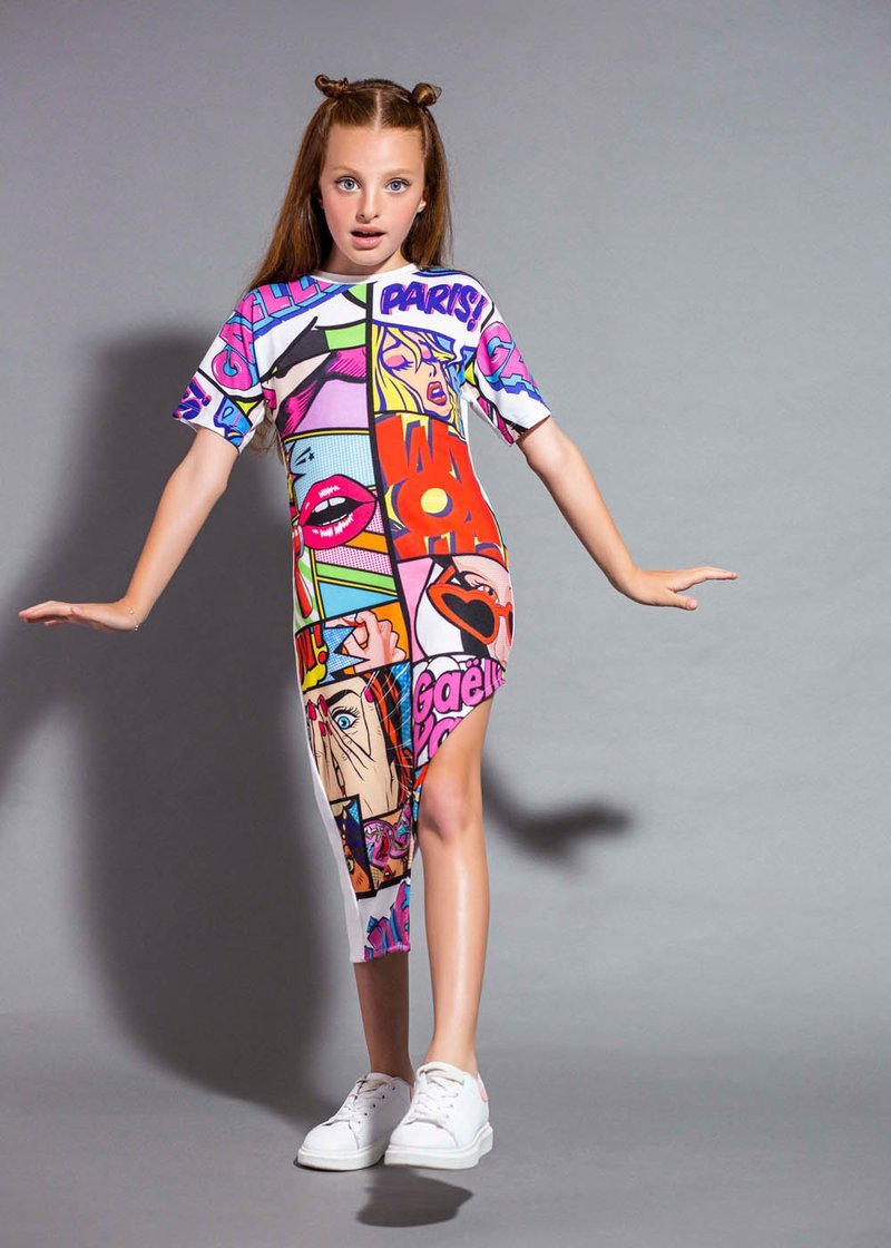 COTTON DRESS WITH POP ART PRINTING AND ASYMMETRICAL CUT