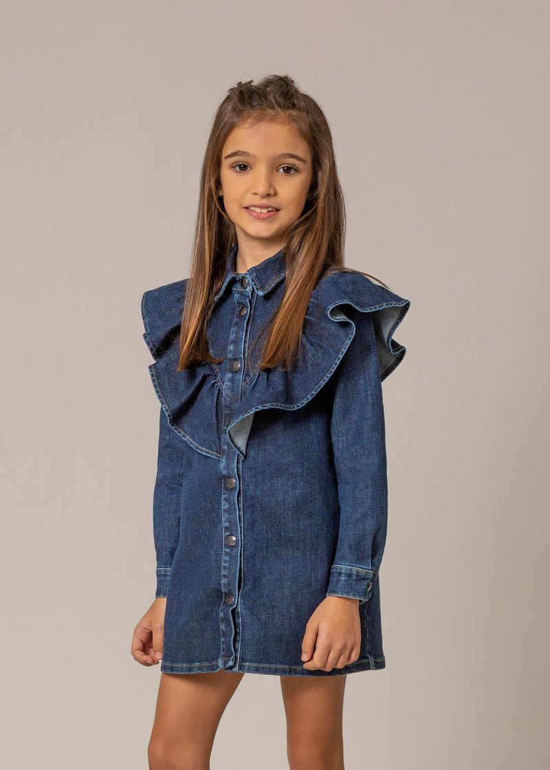 DENIM DRESS WITH APPLIED ROUCHES