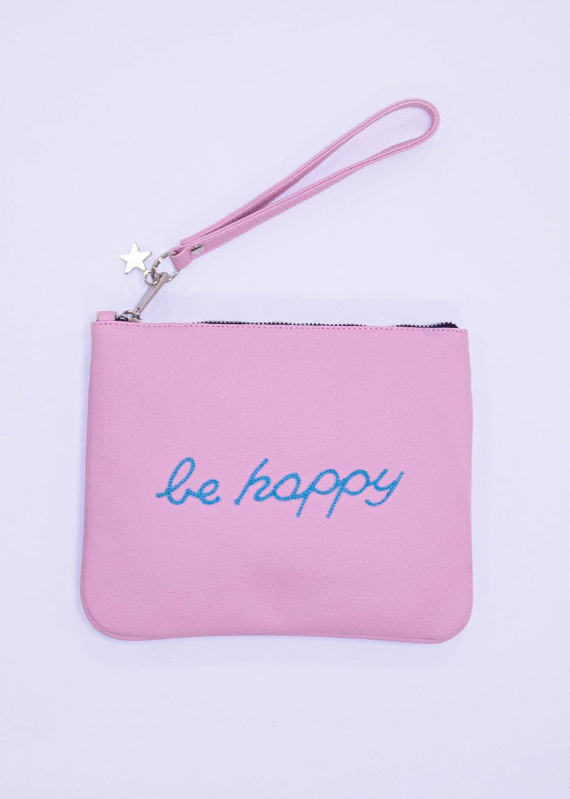EMBROIDERE ECO-FRIENDLY LEATHER PINK POCHETTE