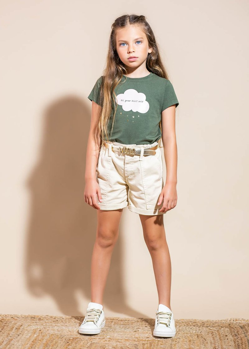 COTTON SHORTS WITH CURLED WAIST