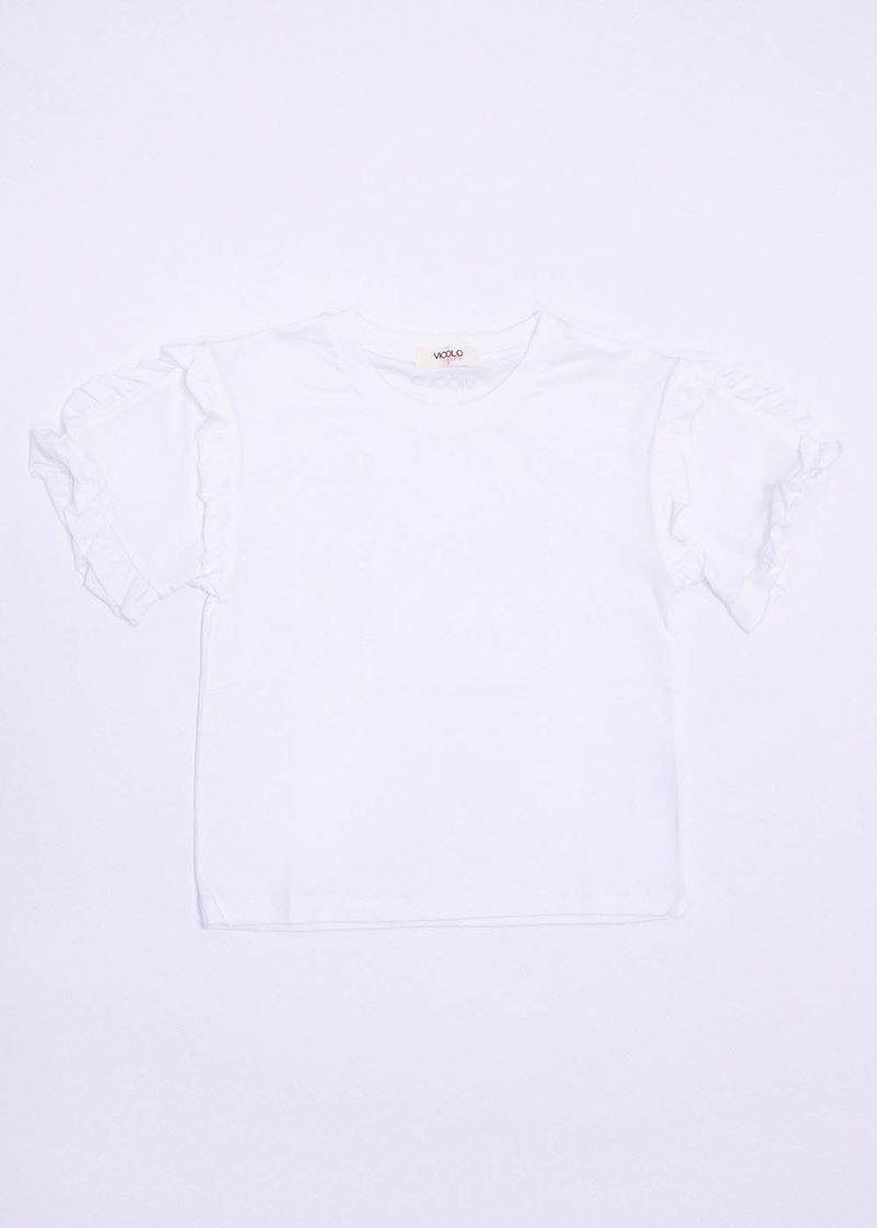 COTTON T-SHIRT WITH ROUCHES