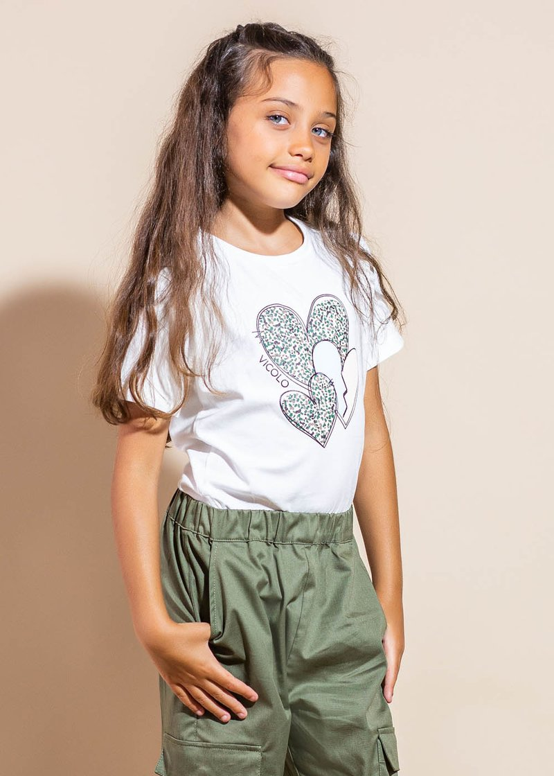 COTTON T-SHIRT WITH PRINTED HEARTS