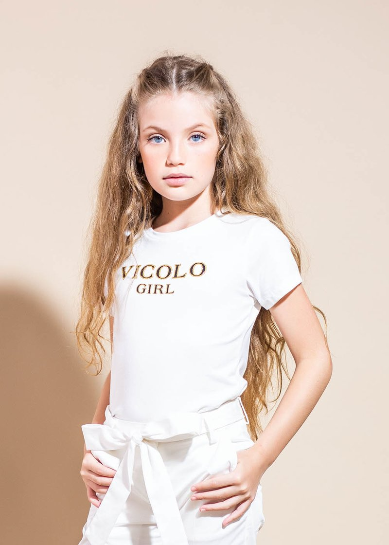 COTTON WHITE T-SHIRT WITH BLANCK AND GOLD PRINTED LOGO