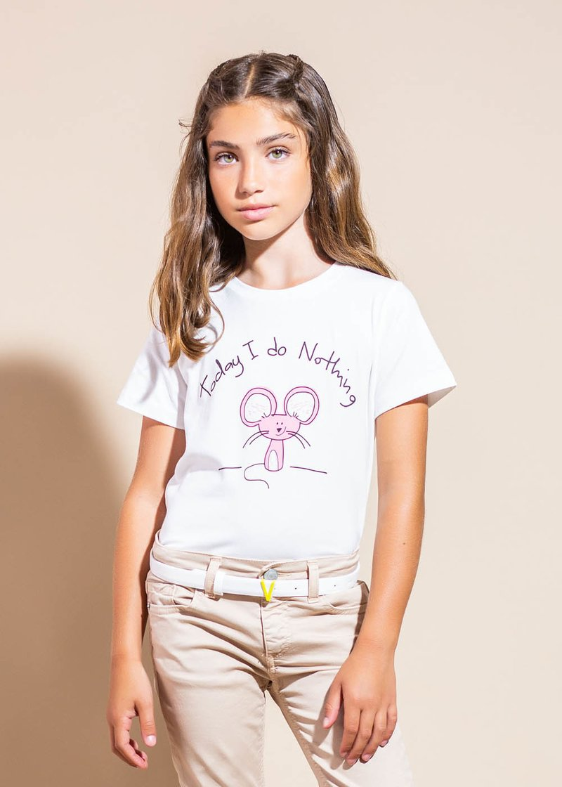 WHITE COTTON T-SHIRT WITH PRINTED LITTLE MOUSE