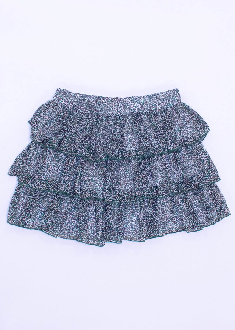MINI SKIRT WITH FRILLS AND MILITARY PATTERN