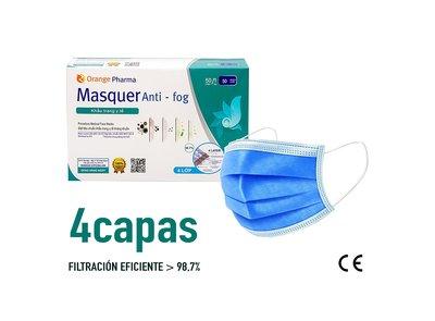 Mascarilla Quirúrgica 4 capas - Caja 2500 u. - 0.20€ unidad