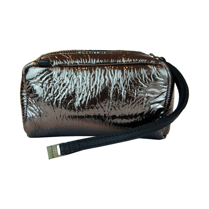 pochette laminated leather