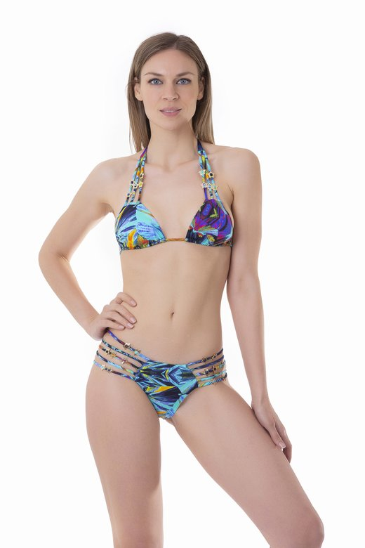 TRIANGLE BIKINI STRINGS PRINTED WITH STARS - Blue Kaleidoscope